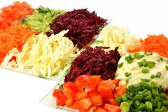 Salad of different kinds vegetables with sour cream Stock Photo