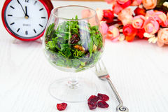 Salad with Dill, Parsley, Cilantro, Walnuts. And Dried Cherries Studio Photo stock photos