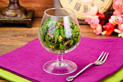Salad with Dill, Parsley, Cilantro, Walnuts. And Dried Cherries Studio Photo Royalty Free Stock Photography