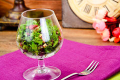 Salad with Dill, Parsley, Cilantro, Walnuts. And Dried Cherries Studio Photo royalty free stock photo