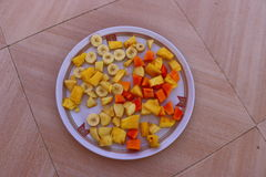 Salad dish. Served on a tin dish Royalty Free Stock Image