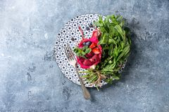 Salad in dragon fruit Royalty Free Stock Images