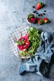 Salad in dragon fruit Stock Images