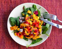 Salad with dragonfruit. Homemade, dressed salad with spinach, dragonfruit, mango, bell pepper, scallions and red oinion royalty free stock image