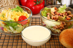 Salad and Dressing Royalty Free Stock Photos