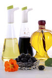 Salad Dressing with oils, olives and vinegars Royalty Free Stock Photography