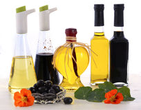Salad Dressing with oils, olives and vinegars Royalty Free Stock Images