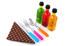 Salad dressing and silverware Royalty Free Stock Image