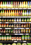 Salad dressings in supermarket Stock Photo