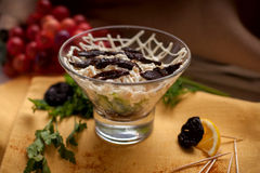 Salad with dried plum. Delisious Salad with dried plum, cucumber, mayonnaise Royalty Free Stock Image