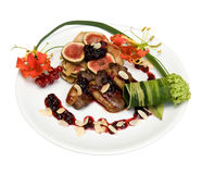 Salad of duck breas. T with figs under cranberry cowberry sauce Royalty Free Stock Photography