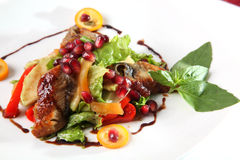 Salad with duck breast and pomegranate Stock Photography