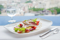 Salad with duck, mango and soft cheese Royalty Free Stock Photography