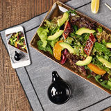 Salad with eel, orange and avocado Royalty Free Stock Images