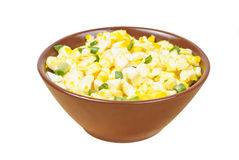 Salad with egg,green onion,cheese on brown bowl Royalty Free Stock Photography