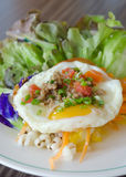 Salad with egg and pork Royalty Free Stock Photos