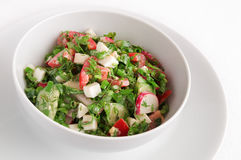 Salad with egg, radish, cucumber, tomato, green onion, lovage, estragon, dill, and parsley dressed with mayonnaise and lemon juice Stock Photography