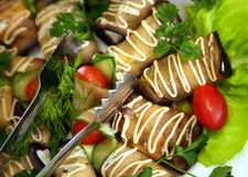 Salad from an eggplant Stock Images