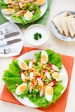 Salad with eggs, crab sticks and corn Stock Image