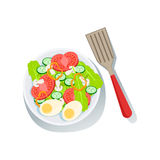 Salad With Eggs And Fresh Organic Vegetables Illustration  Farm Grown Eco Products Royalty Free Stock Image