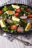 Salad with eggs, radishes and sorrel closeup. vertical. Spring salad with eggs, tomatoes, radishes and sorrel close up on a plate. vertical Stock Photo