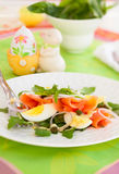 Salad with eggs and salmon Royalty Free Stock Photos