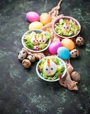 Salad with eggs in shape of chickens. Festive food. Stock Image