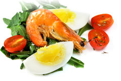 Salad of eggs, tomatoes and shrimp Stock Photography