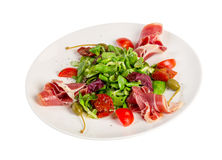 Salad from eruca and bacon Royalty Free Stock Photos