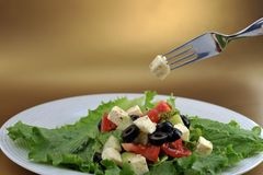 Salad with feta cheese and fresh vegetables Royalty Free Stock Photos