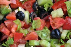 Salad with feta cheese and fresh vegetables Stock Images