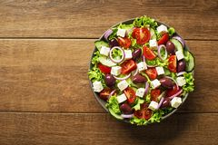 Salad with feta cheese and vegetables royalty free stock images