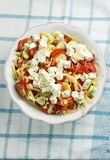 Salad with feta cheese, tomato and corn Royalty Free Stock Photography