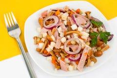 Salad with field mushrooms. Tasty salad with field mushrooms and onion Stock Photo