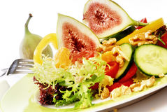 Salad with fig. Salad with fresh fig on a plate Royalty Free Stock Image