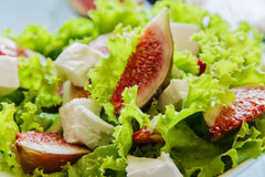 Salad with figs and feta cheese Royalty Free Stock Image