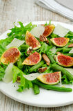 Salad with figs and needle beans Royalty Free Stock Photo