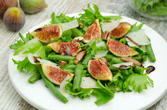 Salad with figs and needle beans Royalty Free Stock Image