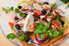 Salad with fish, eggs and olives Stock Image