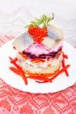 Salad of  fish  herring Royalty Free Stock Photos