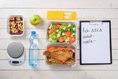 Salad, fish and nuts royalty free stock photos