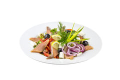 Salad with fish,olives and fresh vegetables Stock Photos