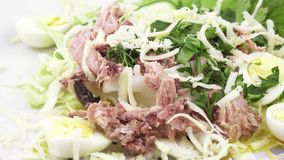 Salad with fish and quail eggs. Rotating salad with cheese, quail eggs, cucumber, parsley, lying on lettuce leaves stock video