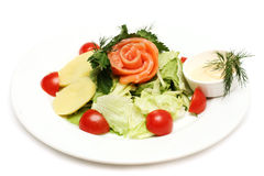 Salad with fish and tomatoes Stock Photos