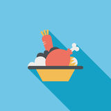 Salad flat icon with long shadow Stock Photos
