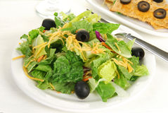Salad and Flatbread Crackers Royalty Free Stock Photography