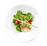 Salad with flounder fillet Stock Photo