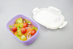 Salad with food container. Vegetable salad and food container closeup Stock Images