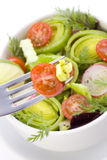 Salad on the fork Royalty Free Stock Image
