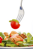 Salad on fork Royalty Free Stock Image